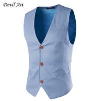 Wholesale Chaleco Slim Fit - Wholesale- New Fashion Single Breasted Slim Fit Chaleco Hombre Sleeveless Cotton Waistcoat Suit Vest Mens Business Dress Vest