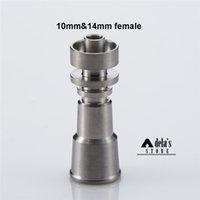 Wholesale Titanium 15mm - DHL Domeless Titanium Nail Direct Inject 10mm 14mm Female Joint Hand Tools 15mm Bowl Diameter Grade 2 Titanium Ti Nails Dab Rig 070