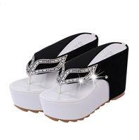 Wholesale Rhinestone Wedge Sandals - Women Platform Flip Flops Rhinestone Wedge Heel Shoes Patchwork Woman Summer Sandals Shoes 7060501