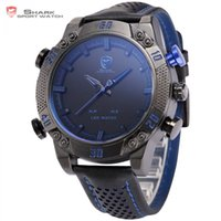 Wholesale Shark Dual Digital - atches Dual Display Wristwatches Kitefin Shark Sport Watch Blue LED Back Light Auto Date Display Leather Strap Quartz Digital Outdoor Men...