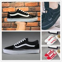 Wholesale White Canvas Sneakers Wholesale - Size 35-45 Classic Old Skool Low Cut Casual Canvas Shoes Classical White Black Brand Big Kids Boys and girls Sneakers Skateboarding Shoes 35