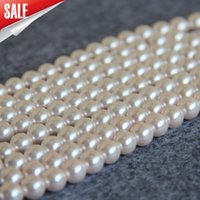 Nuevos NecklaceBracelet Accessories 8mm White Shell pearl beads Seashell girl granos sueltos Jewelry making design 15 inch venta al por mayor