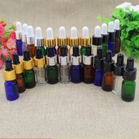 Wholesale Glass Flask Bottles Wholesale - Glass Dropper Bottle Childproof Colorful 5ML Bottles White Rubber Head Droppers Container Flask With Aluminum Screw Ring Cap 0 85ym D