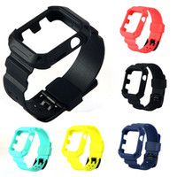 Wholesale Wrist Watch Band Strap Case - For Apple Watch iWatch 38mm 42mm Replacement Silicone Sport Strap Bracelet Wrist Watch Band With Case
