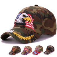 Wholesale Woodland Camo Outdoor Cap - Wholesale- 6 panels woodland camo baseball cap animal eagle embroidery sports camouflage outdoor cap and hat for hunter and fishman