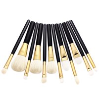Wholesale Fashionable Hair Styles - Wholesale OEM High Quality Durable Fashionable Style 12pcs Makeup Brush Set Black Wood Handle Makeup Brushes New Trend