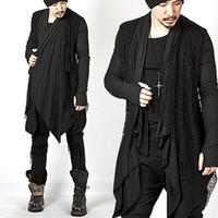 Wholesale Unique Wool Coats - Plus Size New Trendy Mens Knitted Tops Avant-garde Unique Mesh Accent Arm Warmer Shawl Cardigan Long Sleeve Coat Size M-3XL