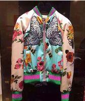 up uniformen großhandel-Großhandels-2016 weibliche Ganzkörper-Reißverschluss-up Jacke Stickerei Blume Schmetterling Farbe Block Baseball-Uniform