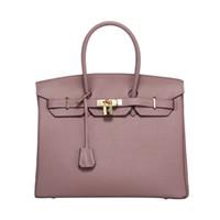 Wholesale Good Quality Handbag Brands - 35cm Fashion Women Handbags Good Quality Bright Leather Women Bags Famous Brand Women Shoulder Bags Ladies Tote