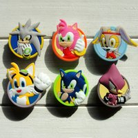 Wholesale sonic pvc - 30pcs Sonic PVC Shoe Charms Ornaments Buckles Fit for Shoes & Bracelets ,Charm Decoration,Shoe Accessories Party Gift Free Shipping