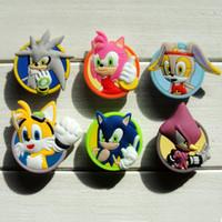 Wholesale Sonic Pvc - 30pcs Sonic PVC Shoe Charms Ornaments Buckles Fit for Shoes & Bracelets ,Charm Decoration,Shoe Accessories Party Gift Free Shipping