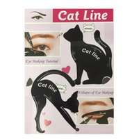 Wholesale eyebrow template kit for sale - Group buy Cute Cat Eyeliner Stencil kit for eyebrows guide template Maquiagem eye shadow frames card makeup tools set