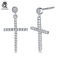 Wholesale pure rhodium jewelry - Zircon Earring Pure Sterling Silver for Women Men Real 925 Sterling Silver Cross Stud Earrings Fashion Jewelry SE37