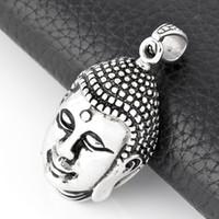 colgante de fundición de acero al por mayor-Joyería de fundición de alta calidad de acero inoxidable pulido de plata de alta calidad amuleto colgante de Buda colgantes para la fabricación de joyas
