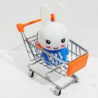 telefonzubehör geschäfte großhandel-Mini Supermarkt Warenkorb Spielzeug Handwagen Metall Desktop Dekoration Modell Zubehör Lagerung Handyhalter Spielzeug Für Kinder XL-T34