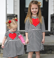 Wholesale Twin Sisters - INS dresses for girl Sister Twins dress Sweet Heart Black white striped Long sleeve 2017 Spring Fall 2T 3T 4T 5T 6T