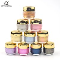 alfa jel toptan satış-AŞK ALPHA 3D Glitter Göz farı Göz Farı Jel Krem 16 renkler Metalik Toz Pigment Makyaj Parfüm Fosforlu kozmetik