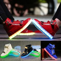 Led Luminous Shoes online - Unisex Led Shoes Couples Glowing Flats For Casual Walking Light Up Luminous Fashion Sneakers 2016 Black Red White Size 35-46