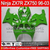 Wholesale 1998 Kawasaki Ninja Fairings - 8Gifts 23Colors For KAWASAKI NINJA ZX7R 96 97 98 99 00 01 02 03 ALL green 18NO61 ZX750 ZX 7R ZX-7R 1996 1997 1998 2001 2002 2003 Fairing