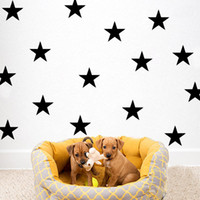 30 unids / lote Estrella Pegatinas de Pared Calcomanías DIY PVC Negro Estrella Decoración de La Pared Wallpaper Pegatinas de Pared Nursery Baby Room Decoration Nordic Ecológico