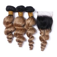 Wholesale two toned loose wave ombre hair for sale - Group buy Loose Wave Brazilian Honey Blonde Ombre Human Hair Weaves With Lace Closure Two Tone B Ombre x4 Front Lace Closure With Bundles