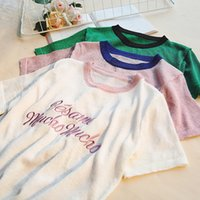 Wholesale silk t shirts for women - Women summer short sleeve Bright silk embroidery letter T shirt casual tops for lady wholesale clothing