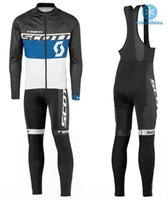 Wholesale Scott Pants - Scott Fleece Thermal Long Sleeve Cycling Jerseys Ropa Ciclismo Breathable Racing Bicycle Cycling Clothing MTB Bike Clothes And Bib Pants