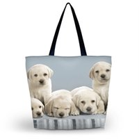 Vente en gros - Cute Dogs Womens Eco Shopping Bag Girl's Utility School Sac de voyage Tote Fourrage pliable Emballage Tote Beach Bag Livraison gratuite
