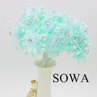 Wholesale Scrapbooking Fabric Flowers - Wholesale-12pcs lot Length 110mm White Mulberry Fabric Flower Bouquet Wire Stem  Wedding Decoration Scrapbooking Artificial Fabric Flower