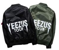 tamaño de la chaqueta del oeste de kanye al por mayor-Kanye West Tour Bomber Men Chaqueta a prueba de viento Air Force MA-1 Pilot Jacket Coat Chaqueta militar de estilo delgado talla S-XXXL