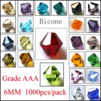 Wholesale 6mm Bicone Beads Free Shipping - Free Shipping Hot ! 1000pcs 29 color 5301 Faceted Crystal Bicone Beads 6mm Loose beads DIY Jewelry Making