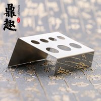 Wholesale Tattoo Ink Holders - Wholesale 7 Holes Tattoo Pigment Ink Cap Cup Holder Sliver & Black Stainless Steel Shelf Stand Tip Supply Tools Body Beauty IA305