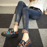 Wholesale Denim Roll High - Wholesale- 2016 autumn hole skinny jeans women ankle length trousers plus size slim roll up hem high waist denim trousers female