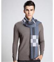 Wholesale Muffler Men - 2017 Newest Design Brand Scarf Men Warm Luxury Scarves Echarpe Fashion Plaid Wool Scarf Man Wool Thick Warm Muffler Neckwarmer Male