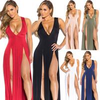 Wholesale Ladies See Through Dresses - Longuette Deep V neck Vent Bandage Skirt Nightclub ladies lace bodycon womens dresses black clothes see-through wholesale