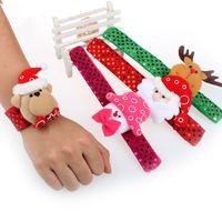 Wholesale Multi Ring Bracelet - New children Sequin Christmas wristband cartoon Christmas deer Santa Claus snowman Flap ring Bracelet Xmas Decorations