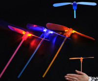 Wholesale Plastic Bamboo Dragonfly - Free Shipping 2 leaf Led Lighted Flying Bamboo Dragonfly Helicopter Boomerang Frisbee Flash Children Kids Boys Toys Christmas gift