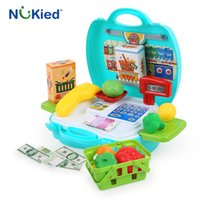 Wholesale Wholesale Supermarket Shopping Basket - NUKied Children Shopping Pretend Play Toys Set Mini Supermarket Cash Register Basket With Vegatable Protable Kits Baby Gift