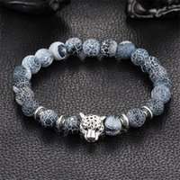 Wholesale Buddha Stone Antique - Wholesale- Wholesale Antique Silver Plated Buddha Leopard head Bracelet Lava Natural Stone Beaded Bracelets For Men Women Pulseras Hombre