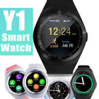 Wholesale Round Touch Screen Watches - Y1 Smart Watch Wrisbrand Bracelet Round Touch Screen with SIM Card Slot for Apple iPhone Samsung Android Sony Smartwatch