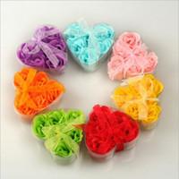 flores pétalas de sabão venda por atacado-Moda Natal Soap Flor Forma de Coração Artesanal Rose Petals Rose Frower Sabão De Papel Mix Cor (6 pcs = 1box) 9.5 * 9 * 4 cm