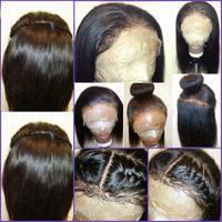 Wholesale full silk scalp human hair wig for sale - Group buy Silk Base Wigs Natural Scalp x4 Silk Top Full Lace Wigs Density Yaki Straight Human Hair Baby Hair Around Perimeter