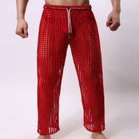 Wholesale Sexy Sheer Mesh Pants - Wholesale-Sexy men lounge long pants sleepwear sleep bottoms sheer see through mesh sexy hot new designer waist 2016 home gay wear hot