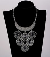 Wholesale Black Hippy - 2017 BIG COLLAR NECKLACE BIB chain ANTIQUE SILVER choker Turquoise Turkish Gypsy Ethnic Hippy Bohemian Tibet Tribal Necklaces