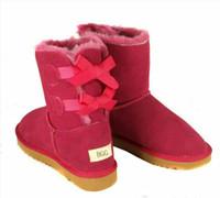 echt c großhandel-Tropfenverschiffen Weihnachten NEW Australia klassische hohe Winterstiefel echtes Leder Bailey Bowknot Frauen Bailey Bogen Schnee Stiefel Schuhe Boot