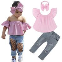 Wholesale Piece Jeans Top - 2017 Girls Baby Childrens Clothing Sets Pink Tops Hole Jeans Pants Headbands 3Pcs Set Fashion Girl Kids Boutique Enfant Clothes Outfits