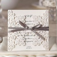 Wholesale Laser Cut Wedding Invitations Cheap - Laser Cut Wedding Invitations Cheap Ivory Hollow Flower Bow Free Personalized Printing Wedding Invitations Cards Sets Wedding Accessories
