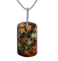Wholesale Christmas Dog Product - Unique Products Stainless Steel Printing Skull Dog Tag Pendant Necklace For Men