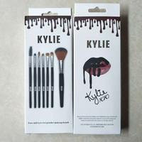 Wholesale Wood Products Wholesale - Latest product kylie Makeup brushes Tools Black wooden handle 7pcs eye makeup brush Eye Shadow free shipping