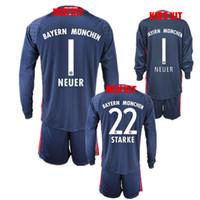 Wholesale Long Sleeve Xs - 2016 17 Kids Long Sleeve NEUER Goalkeeper Jersey Kit Blue Youth Soccer Set #1 Manuel Neuer 22 Starke Goalie Football Kits Full Uniform